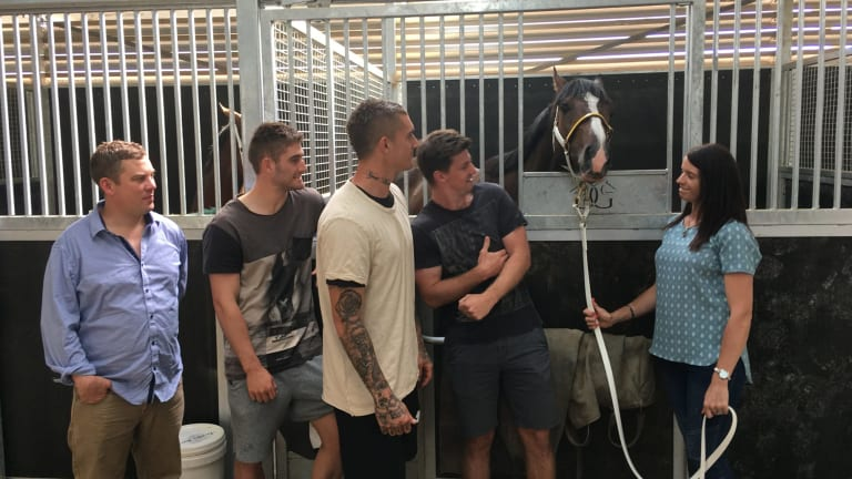 Dusty's Derby: Main Stage with co-trainers Natalie Young, right, and Trent Busuttin, far left, as well as co-owners Andrew McQualter, Dustin Martin and Anthony Miles.