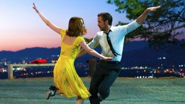 Emma Stone and Ryan Gosling in the musicla <i>La La Land</i>.