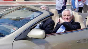 George Lazenby at Goulburn's second Spyfest street parade.