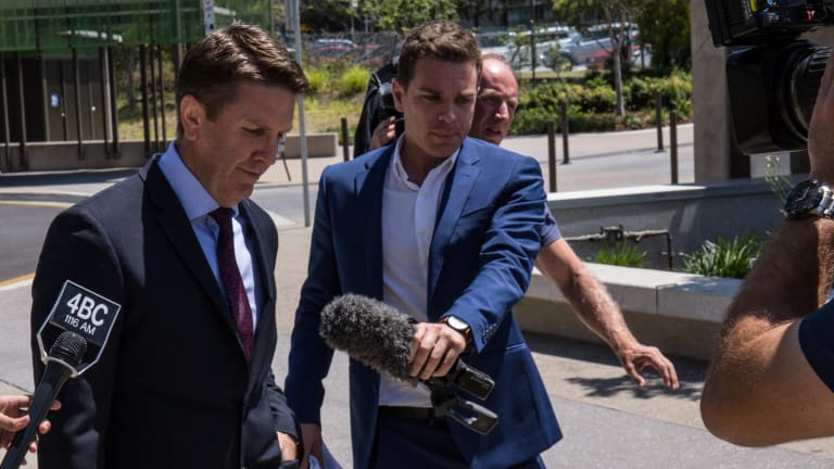The Thorburns' defence lawyer Jason Jacobson leaves Beenleigh Magistrates Court on Wednesday after speaking to media.