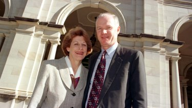 Former Queensland premier Wayne Goss with his wife Roisin.