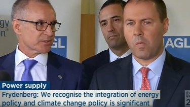 The South Australian and federal governments are at loggerheads over energy policy, leading to a heated argument between Jay Weatherill and Josh Frydenberg at a press conference.