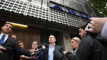 ACTU secretary Sally McManus and and the AWU's Daniel Walton speak to the media after AFP raided the Spencer Street offices of the AWU.
