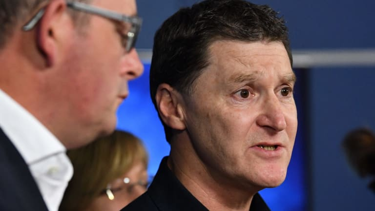 Victoria Police Acting Chief Commissioner Shane Patton speaking to journalists last night.