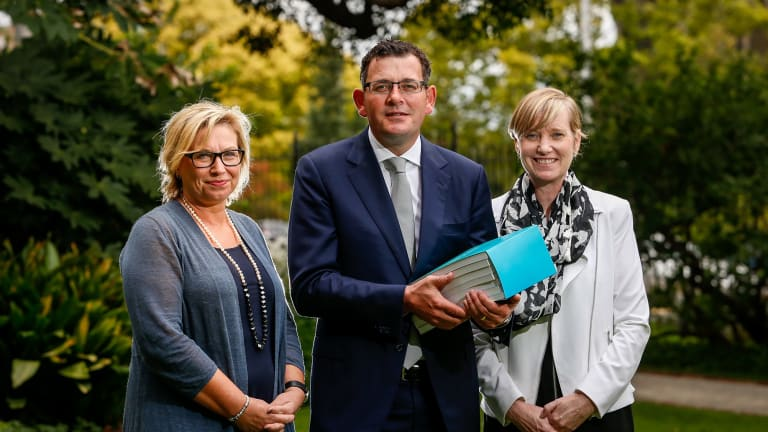 Premier Daniel Andrews with Rosie Batty and Fiona Richardson in March 2016.