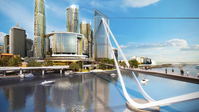 An artist's impression of Echo Entertainment's proposal for Queen's Wharf casino, including the pedestrian bridge.