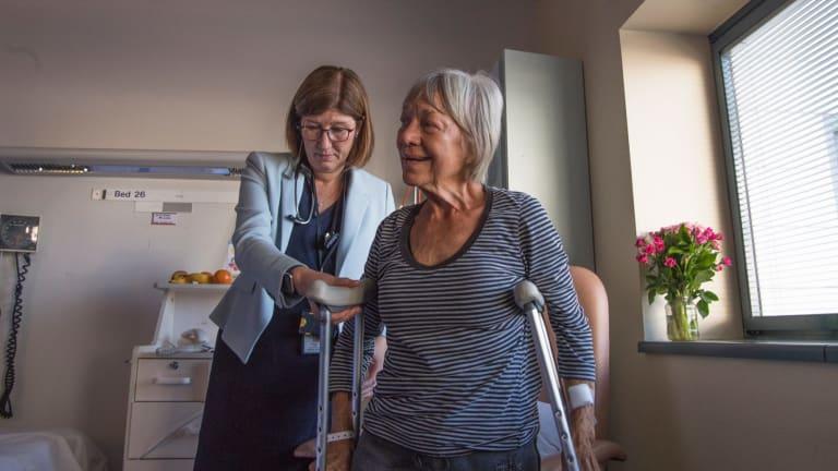 Professor Jaqueline Close and hip fracture patient Rhonda Wilson.