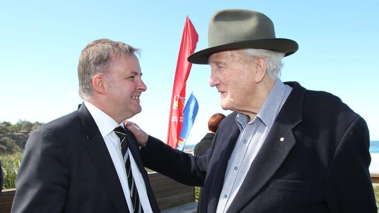 Albanese with Labor elder statesman and mentor Tom Uren in 2010.