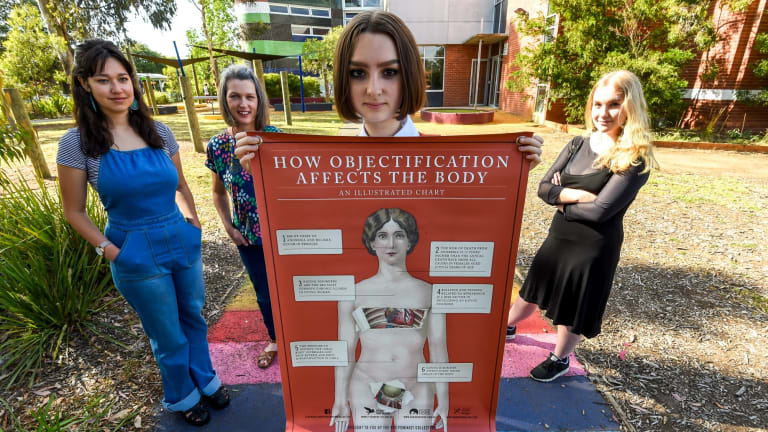 Fitzroy High School has a new feminism elective created by teacher Briony O'Keefe, pictured with students Edie Johnston, Nia Stanford and Stella Bridie.