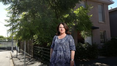 Judi Carr poses outside her home at 10 Aubrey Road, Armadale. The council wishes to acquire it.