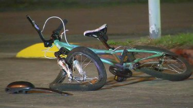 The girl's bike at the accident scene.
