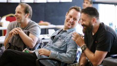Peter Evans (centre) in the rehearsal room with Jamie Oxenbould (left) and fight director Nigel Poulton.