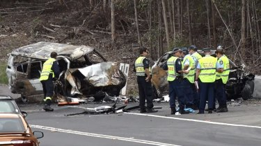 Scene of the crash on the Princes Highway south of Sussex Inlet and north of Milton which killed four people.
