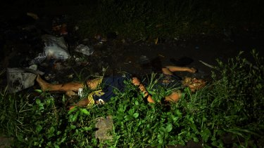 The body of a man slain in Caloocan, Manila, Philippines.