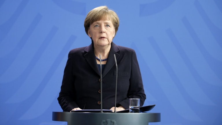 German Chancellor Angela Merkel addresses the media in Berlin following the plane crash on Tuesday.