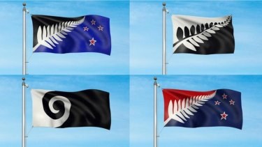 New Zealanders will rank these four plus Red Peak options. The winner will be pitted against the current flag  in next year's  referendum.