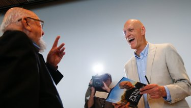 Peter Garrett with Thomas Keneally at the launch of his autobiography, <em>Big Blue Sky</em>, at the MCA in Sydney.
