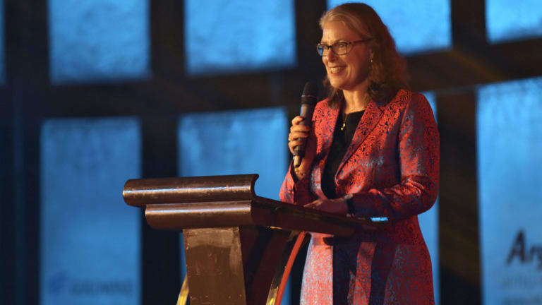 Australian ambassador to China Jan Adams welcomes guests at the gala awards dinner on Thursday night.