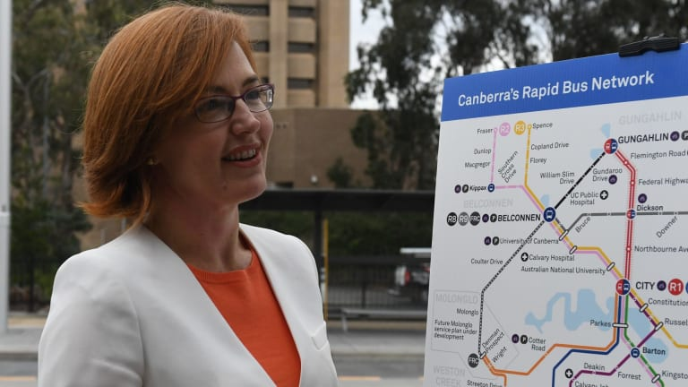ACT Minister for Transport Meegan Fitzharris unveiling the new Rapid bus network for Canberra.