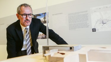Art Gallery of NSW director Michael Brand with designs for the Sydney Modern project.