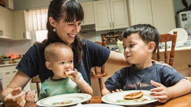 Vanessa Huang with her children Theodore and Hugo, both of whom were born at Ryde Hospital.
