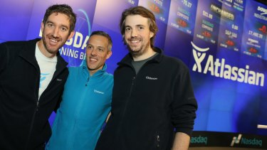 Co-founders Scott Farquhar, left, and Mike Cannon-Brookes, right, at the Atlassian IPO dedicated the day to team work.