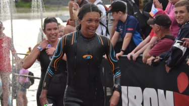 Turia Pitt on the swim leg of the Port Macquarie Ironman competition.