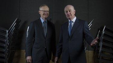 Philip Lowe (left) will take over from Glenn Stevens as RBA governor next month.