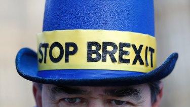 An anti Brexit demonstrator.