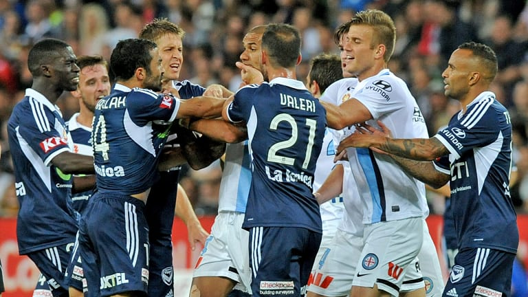 Melbourne Victory and City players clash during the Christmas derby, 2014.