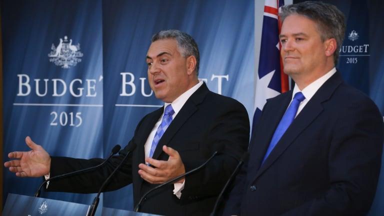 Treasurer Joe Hockey and Finance Minister Mathias Cormann during the budget lock-up.