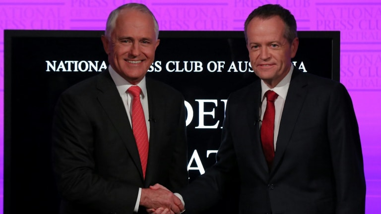 Prime Minister Malcolm Turnbull and Opposition Leader Bill Shorten at the Press Club debate earlier in the election campaign.
