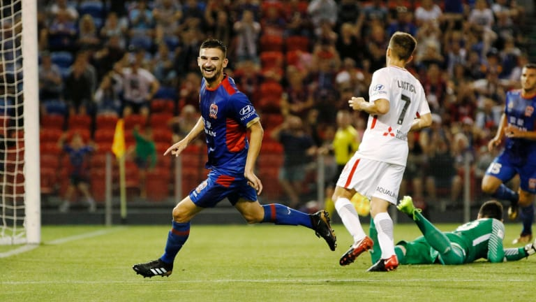 Procession: Steven Ugarkovic has his turn to put his name on the scoresheet in an embarrassing night for the Wanderers.