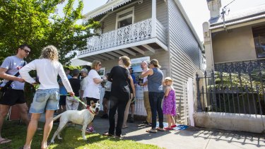A property auction in Birchgrove on Saturday. The 2012 slump affected inner-ring suburbs most.
