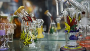 Glass pipes are displayed for sale at a store in the Venice Beach neighborhood of Los Angeles.