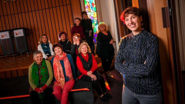 Samara Hersch with choir members who take part in <i>Dybbuks</I>.