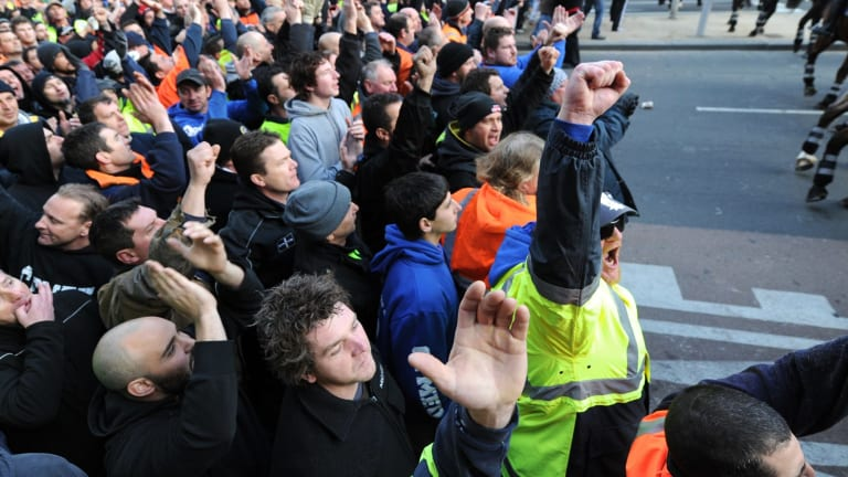 CFMEU workers face off with mounted police during the protests in September 2012.