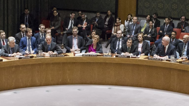 US ambassador to the UN Samantha Power, centre, raises her hand to abstain during the UN Security Council vote on 23 December.