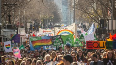 People attending a Marriage Equality rally in Melbourne.