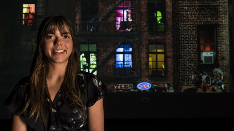 UNSW graduate Jessica Long and her award-winning video project that pays homage to Alfred Hitchcock's Rear Window.