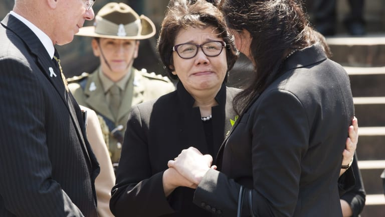 Emotional day: Curtis Cheng's wife Selina.