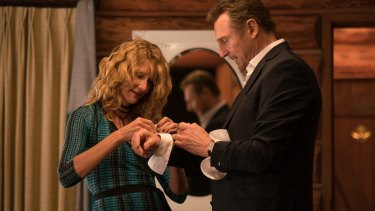 Laura Dern and Liam Neeson in a scene from Cold Pursuit.
