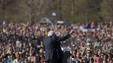 Change of tone: Senator Bernie Sanders, contender for the Democratic presidential nomination, speaks at Prospect Park in Brooklyn.