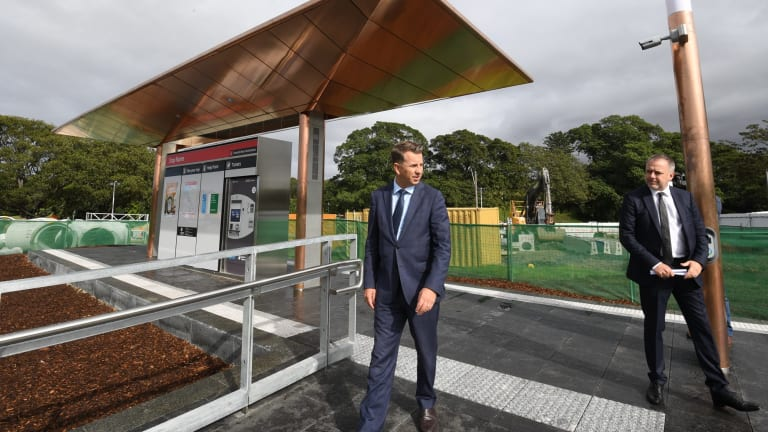 Transport Minister Andrew Constance, left, and Grimshaw Architects partner Andrew Cortese at the unveiling of a prototype of a light rail stop.