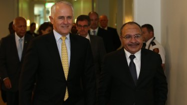 Prime Minister Malcolm Turnbull with PNG Prime Minister Peter O'Neill last year at Parliament House in Canberra.
