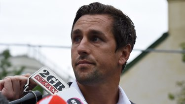 A contrite Mitchell Pearce addresses the media about the leaked video on January 29.