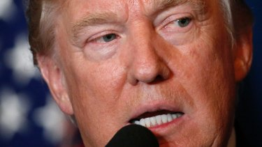 President Donald Trump speaks at Mar-a-Lago in Palm Beach, Florida.