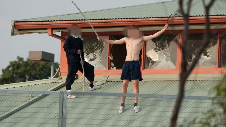 Rioting teens on the roof of Parkville youth detention centre.