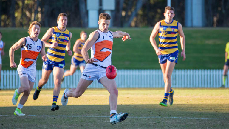 Brett Deledio playing for the Giants in the NEAFL against Sydey Uni last month.