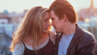 Julie Delpy and Ethan Hawke in Before Sunrise.
